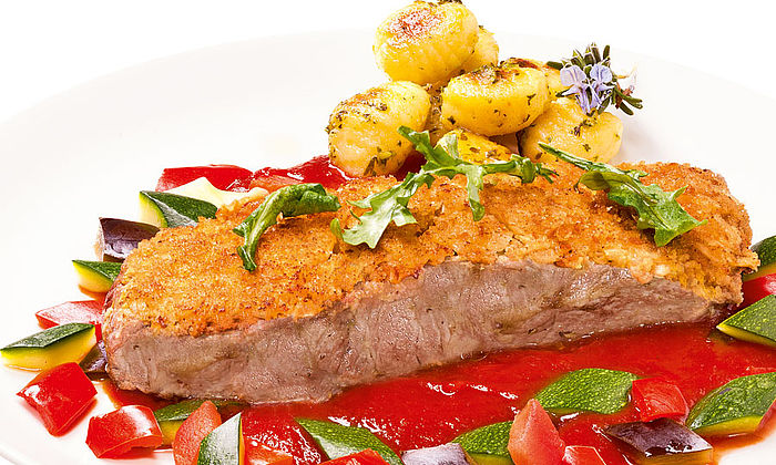 Rumpsteak Strindberg mit Ratatouille