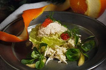 Mousse von geräucherter allgäuer Forelle mit Pastinaken-Meerrettichsalat