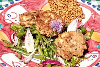 Bohnensalat mit Apfelhackfleischküchle
