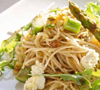 Dinkel-Spaghetti mit Pistazien-Pesto und Spargel
